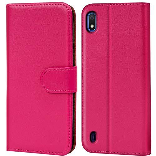 Verco kompatibel mit Samsung Galaxy A10 Hülle, Handyhülle für Galaxy A10 Tasche PU Leder Flip Hülle Brieftasche - Pink