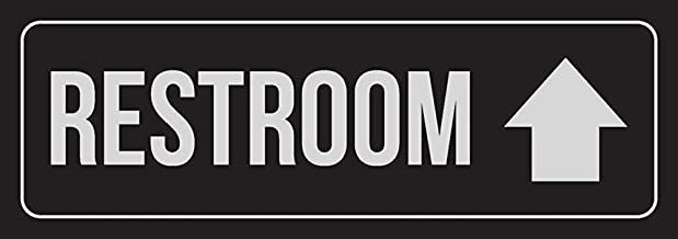 New Great Black Background with Silver Font Restroom Up Arrow Business Retail Plastic Wall Sign 3x9 for Outdoor & Indoor Single Sign