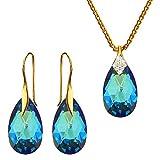 Crystals & Stones – Bermuda Blue – Plata 925 chapado en oro 24 K joyas de boda Set de Swarovski – Pendientes y collar – Joyas con caja de regalo gratis