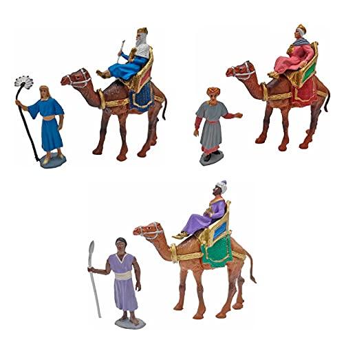 Oliver Art - Figuras de Reyes Magos, Camellos y pajes para belén navideño...