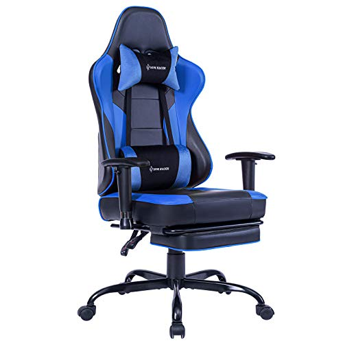 Li VON RACER Massage Gaming Chair Racing Office Chair - Adjustable Massage Lumbar Cushion, Retractable Footrest and Arms High Back Ergonomic Leather Computer Desk Chair (Blue)