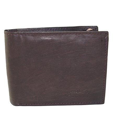 Herren Portemonnaie aus weichem echtem Leder im Querformat robuste Geldbörse Ledergeldbörse Geldbeutel Mocca GB05 (5601-Mocca)