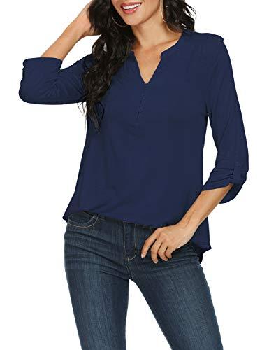 Zattcas Women's 3/4 Roll Tab Sleeve Split Neck Henley Tunic V Neck Blouses Tops,Navy,Large