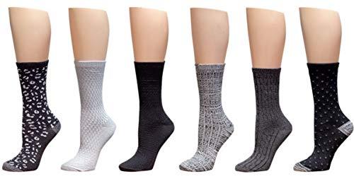Cuddl Duds Womens 6 Pack Supersoft Warm Crew Socks (Ladies Shoe Size 4-10, Black Fashion)