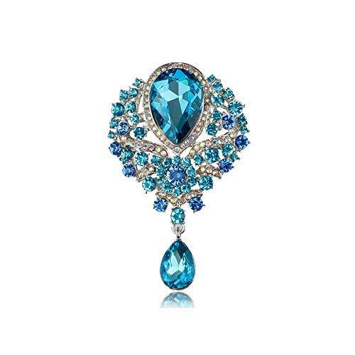 Brosche in Tropfenform, verschiedene Farben, Vintage-Stil, Glaskristalle, für DIY Hochzeit, Brautsträuße, Schmuck, Zubehör, 7406 it blue