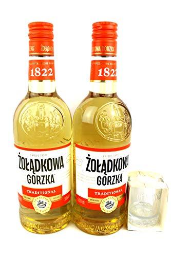 Zweier Paket Zoladkowa Gorzka Traditionell Vodka (2x0,5), 34{4781825bb01ed213337c5b6fefcfe787477e82f161e4f6254337e6ea49837137} Vol. + gratis original Shot Glas Zoladkowa Gorzka