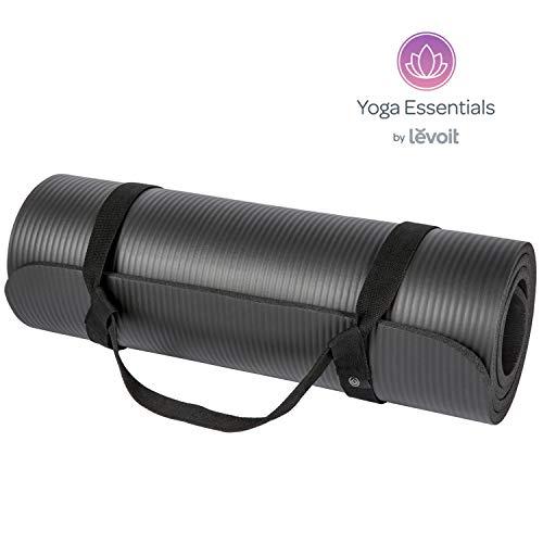 LEVOIT Yoga Mat, 1/2 Inch Extra Thick for Workout Fitness Pilates and Floor Exercises, High-Density Anti-Tear Non-Slip NBR Foam Mat (Black), Medium
