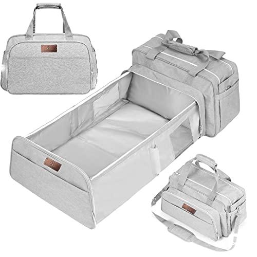 4-in-1 Booster Baby Cabrio Wickeltasche, Mehrzweck-Reisebabytasche, vielseitig verwendbar, inkl. Stubenwagen, Groß, grau