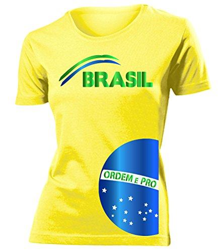 Brasilien Brazil Brasil Fan t Shirt Artikel 3208 Fuss Ball WM 2022 Team Trikot Look Weltmeister Flagge Fahne Frauen Damen Mädchen Girly Gaucho XL
