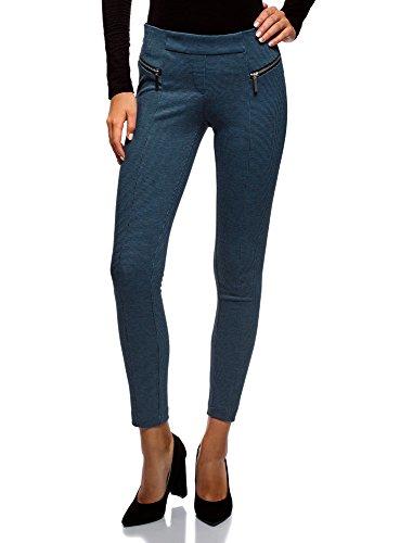 oodji Collection Mujer Pantalones Ajustados con Cremalleras Decorativas, Gris, ES 42 / L