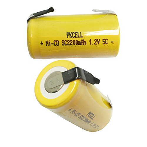 SC Size 1.2V 2200mAh NiCd Rechargeable Battery for Power Tools with Tabs Count (20 Pcs)