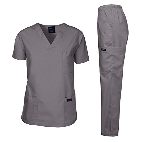Dagacci Scrubs Medical Uniform Men Scrubs Set Medical Scrubs Top and Pants (Small, Petwer Gray)