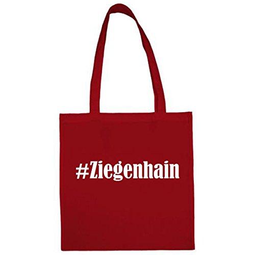 Tasche #Ziegenhain Größe 38x42 Farbe Rot Druck Weiss