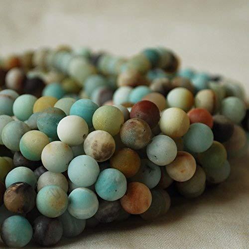 Perles rondes en amazonite naturelle et semi-précieuse mat mat de qualité A - 6 mm