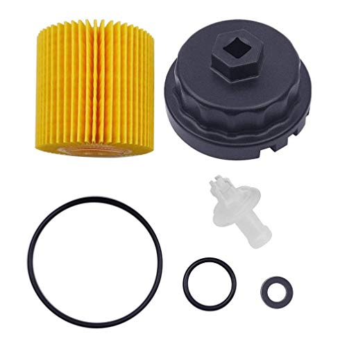 Genuine Oil Filter with Wrench for Toyota, Lexus , RAV4, Camry, Tundra, Highlander, Sienna and More,Oil Drain Plug Gasket Washers, Oil Filter Housing Cap Removal Tool Set for Oil Change and Oil Drain
