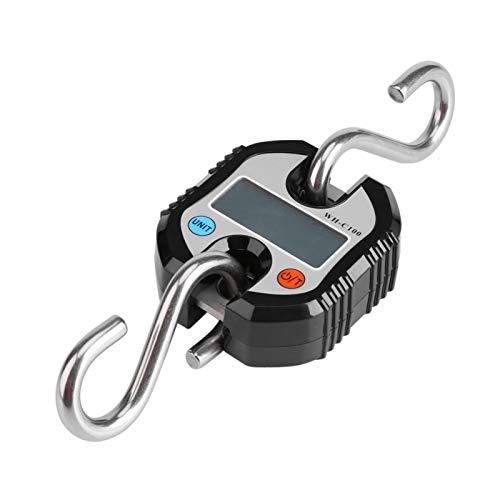 Báscula portátil para colgar, mini grúa portátil LCD Gancho electrónico digital Básculas colgantes Balanza de pesaje en bucle Paquete expreso con gancho para equipaje de plástico(Negro)