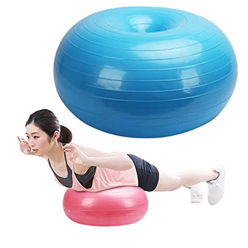 Lumanby Pelota de yoga Fitness Ball 50 cm Donut Yoga Ball Espesar a prueba de explosiones Apple Ball Yoga Hemisferio Fitness Ball Inflable Balance Yoga Ball (azul)