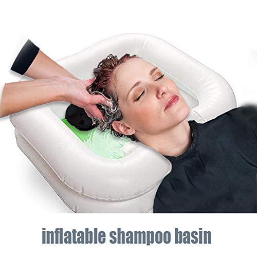 Gonflable Lit Lavabo Cheveux Portable Gonflable Bassin Shampooing Baignade Lit Aide D'assistance Liée Chevet Kit de Bassin Shampooing pour Désactivé, Personne Âgée