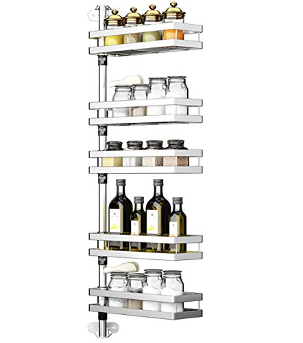 Bastidores de especias montado en la pared Organizador de hierbas y especias Tarros lata, botella, 304 acero inoxidable de 5 gradas ajustable y giratorio