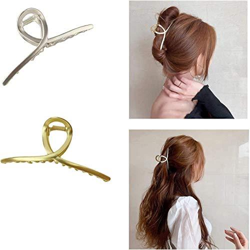 2 Stuks Grote Metalen Haarklauw Clips Haar, Luie Eenvoudige Hoofdtooi Klauw Clips Haar Vangst,voor Vrouwen Halve Haarspelden,vrouwen Dik Haar Klauw Clips (A)