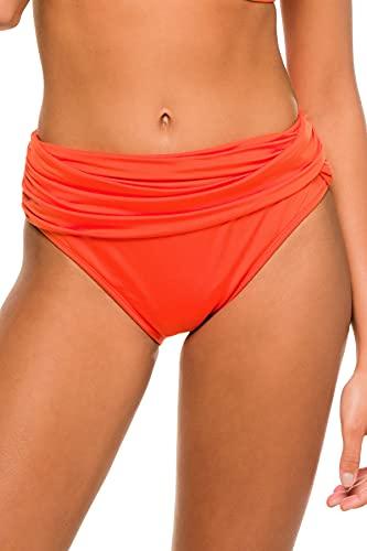 La Blanca Women's Standard Island Goddess Banded Mid Waist Pant Bikini Swimsuit Bottom, Paprika, 10