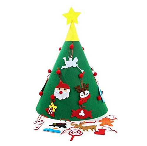 Albero di Natale in feltro Albero di decorazioni natalizie 3D fai-da-te con 18 pezzi pupazzo di neve staccabile Candy...