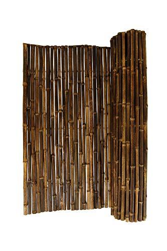 DE-COmmerce Hochwertiger Wind - und Sichtschutz Black I Bambus Blickschutz Garten, Terrasse, Balkon, Trennwand, Raumteiler I Bamboo Sichtschutzzaun mit geschlossenen Rohren 200 x 250 cm