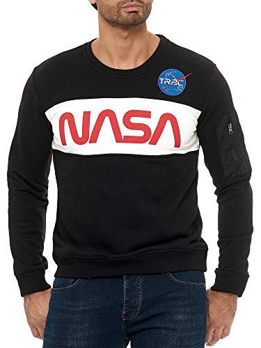 Red Bridge Sweat-Shirt à la Mode Haut de Gamme avec Logo de la NASA sur Le Devant pour Hommes Noir