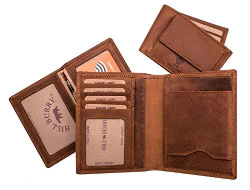 Hill Burry Cartera de Cuero para Hombre | 3 in 1 Monedero | Billetera - Monedero de Cuero Genuino | Hombres - Mujeres Bolsillo Vertical | RFID (marrón)