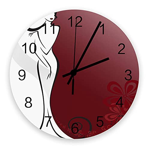 Reloj de pared silencioso que no hace tictac Figura de palo Mujer con vestido y sombrero con flores rosas Funciona con pilas, Decoración de la pared del hogar para la sala de estar, Cocina, Dormitorio