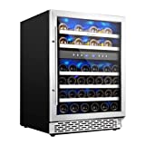 Phiestina 24 Inch Under Counter Wine Cooler - 46 Bottle Built-In Dual...