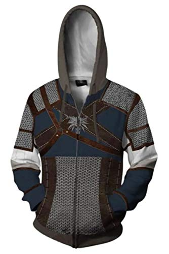 RedJade Coat Sudadera con Capucha Vaina Chaqueta con Capucha Hooded Sweatshirt Animado Unisexo Manga Larga la brujar Witcher 3: Wild Hunt Geralt