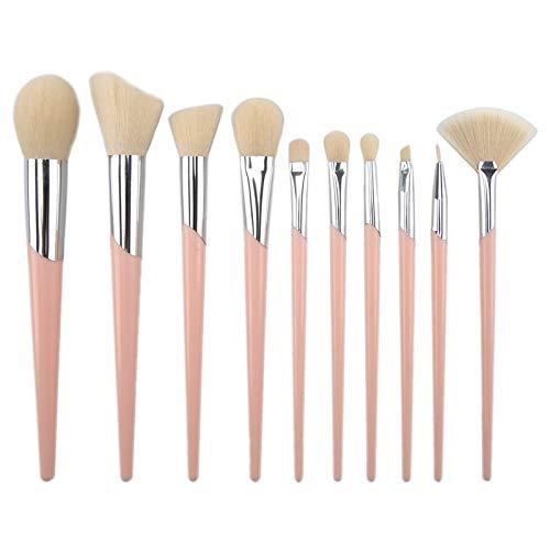 Oblique tube pinceaux de maquillage ensemble 11 pièces rose argent portable pinceau de maquillage outil de maquillage