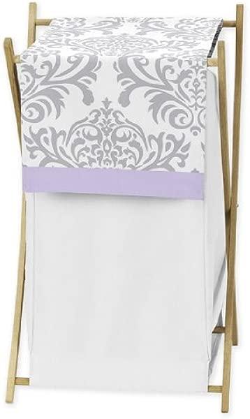 Sweet Jojo Designs Baby Kids Clothes Laundry Hamper For Lavender Gray White Damask Print Elizabeth Bedding Collection