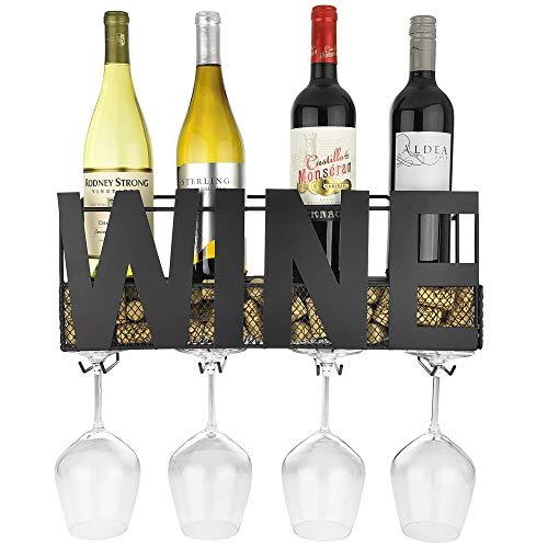 Thetford Design - Portabottiglie da parete in metallo con 4 supporti per bicchieri a stelo lungo e porta tappi per vino