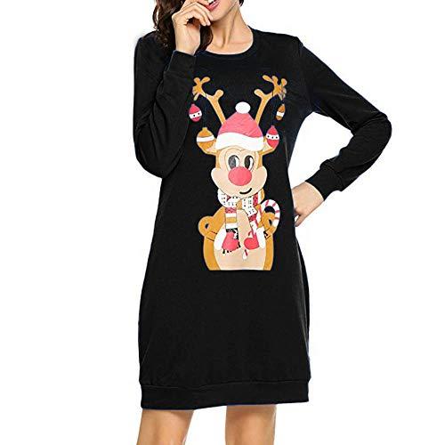 Batnott Weihnachtspullover Damen Weihnachten Kleid Elegant Langarm Rot Frauen Casual Schulterfrei Abend Party Flare Dress Knielang Weihnachtskleid Christmas Xmas Blau Schwarz XL