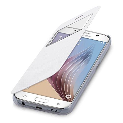 kwmobile, Custodia a libro con finestra per Samsung Galaxy S6 / S6 Duos, Bianco