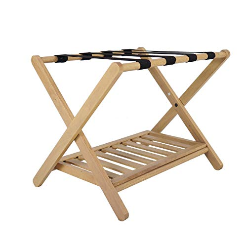 Penguin Home Classic Luggage Rack-Crafted in Solid Hardwood-Foldable Wood Design-Easy Assembly-for Home, Bedroom & Travel-W67 x D47 x H50 cm – Oak Finish