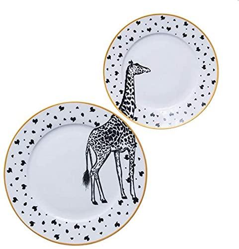 Juego de Platos, Conjuntos de cena de cerámica Conjunto de placa de cena 2 PCS 6 y 8 pulgadas Diseño de animales Bone redondo CHINA PLACA Vajilla Conjunto de 2 placa de cena de cerámica Cebra Giraffe