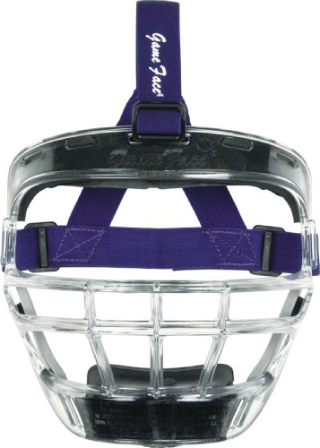 Markwort Game Face Sports Safety Mask (Clear with Purple Ponytail Harness, Large)