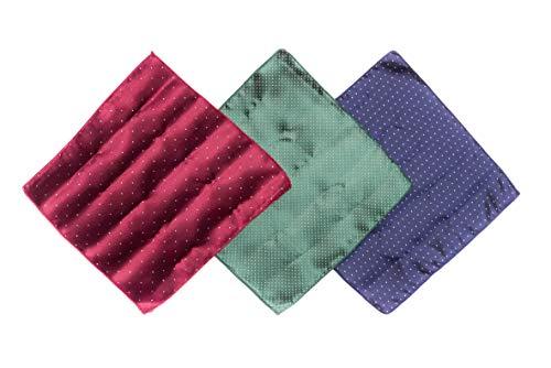 OfficePunk ALLWAYS ACCURATE - Einstecktuch, 3er Set Einstecktücher in klassischer Eleganz (Blau, Rot & Grün), Stecktuch/Kavalierstuch, Menge: 3 Stück inkl. Faltanleitung & Box