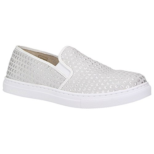 Zweigut® -Hamburg- smuck #202 Damen Schuhe Leder Slip-On Dots Slipper Silber, Schuhgröße:39, Farbe:Silber