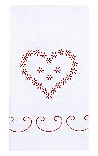Jack Dempsey Paire d'essuie-Mains Blancs avec décoration estampillée 43,2 x 71,1 cm, Saint-Valentin