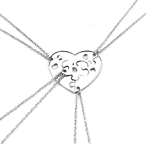 Grenf Fashion Friend's Gift Best Friends Forever Jewelry Heart Shaped Stitching Necklace Into Four Parts Pendant for Besties and Friends (Heart Shape Puzzle Stitching(4 Parts))