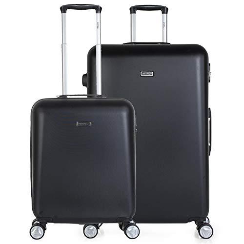 ITACA - Juego Maletas de Viaje Duras 4 Ruedas Dobles Trolley ABS. Rígidas Cómodas y Ligeras. 2 Tamaños: Pequeña Cabina 55X40X20 y Grande XL Bonito Diseño. T58017, Color Negro