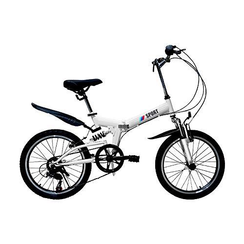 MKIU Faltbares Mountainbike, rutschfeste 20-Zoll-Gummireifen Spezieller Stoßdämpfender Rahmen, Hohler Und Bequemer Weicher Sitz, Mehrere Farben,Weiß