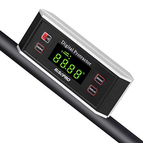 Inclinómetro digital Risepro® con base magnética con ranura en V, ángulos de...