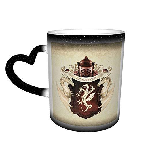 Game Thrones TV Show Taza de café de cerámica Tazas de té cambiantes de color, novedad familiar amantes, amigos, oficina y hogar regalo de salud