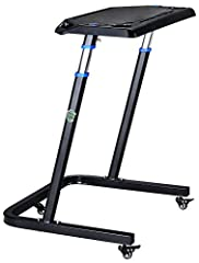 """►ADJUSTABLE HEIGHT: Quickly raise and lower the tabletop from 33.5"""" to 47"""" ►PORTABLE: Locking casters allow for secure positioning, and moving from the workout to the office. ►NON-SLIP SURFACE: The desktop features a non-slip surface that features bu..."""