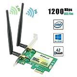 Ziyituod Wifi 無線LANカード AC1200Mbps PCI Express(PCIe) Intel AC-7265モジュール Bluetooth4.2対応 デュアルバンド(5GHz867Mbps+2.4GHz300Mbps) 2*6dBiアンテナ デスクトップ PC用 日本語(英語)説明書付き Windows10/8.1/8/7(32 64Bit) OS対応(WIE7265)